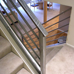elegant iron studios custom ornamental metalwork modern railing and stairs stainless steel and glass cincinnati dayton and columbus ohio - Railings For Stairs