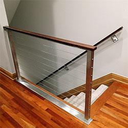 Latest Stainless Cable And Cherry Cap Railing With Modern Stair Railing
